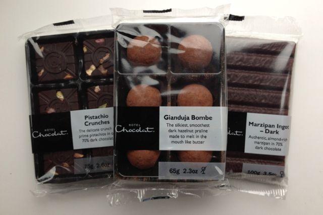 Pistachio Crunchies, Gianduja Bombe, Marzipan Ingots from Hotel Chocolat's vegan range