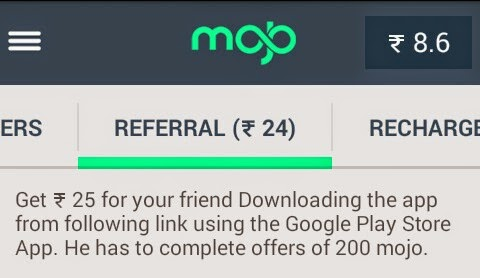 Mojo App for Android - Refer and Earn Offer - Rs 25 per Referral