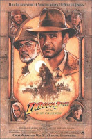 Cartel de la película 'Indiana Jones y la última cruzada', protagonizada por Harrison Ford y Sean Connery. Dirigida por Steven Spielberg y producida por George Lucas. Making Of. Cine
