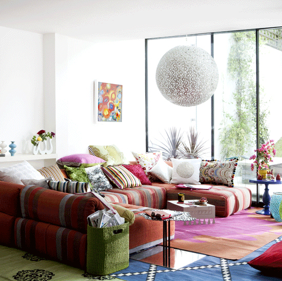 Safari Fusion blog | Pinned: Modern bedouin | Decorate your living room with layers of pattern, colour and texture