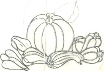 desenhos de verduras e abóbora