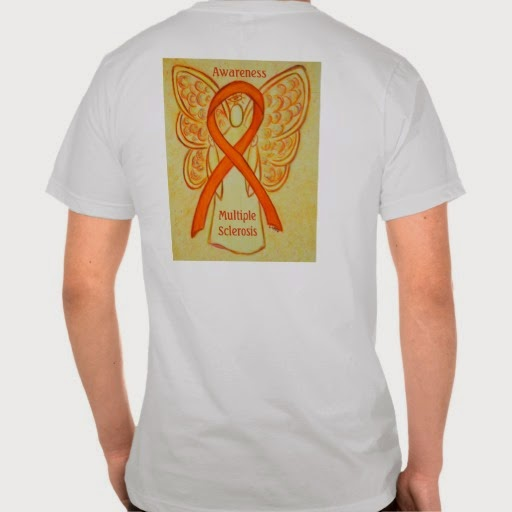 Multiple Sclerosis Awareness Ribbon MS Angel Clothing Gift Shirts or Custom TShirts