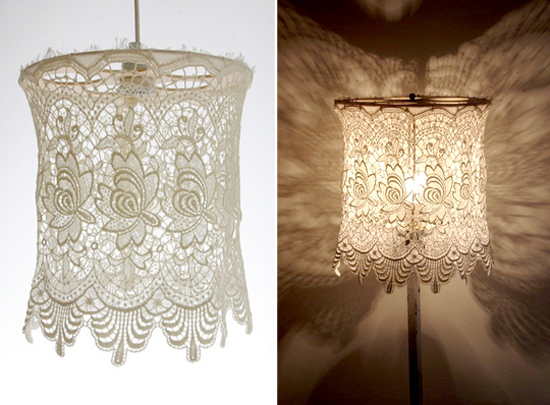 Strawberry chic inspiration thursday lace light fixtures for Doily light fixture