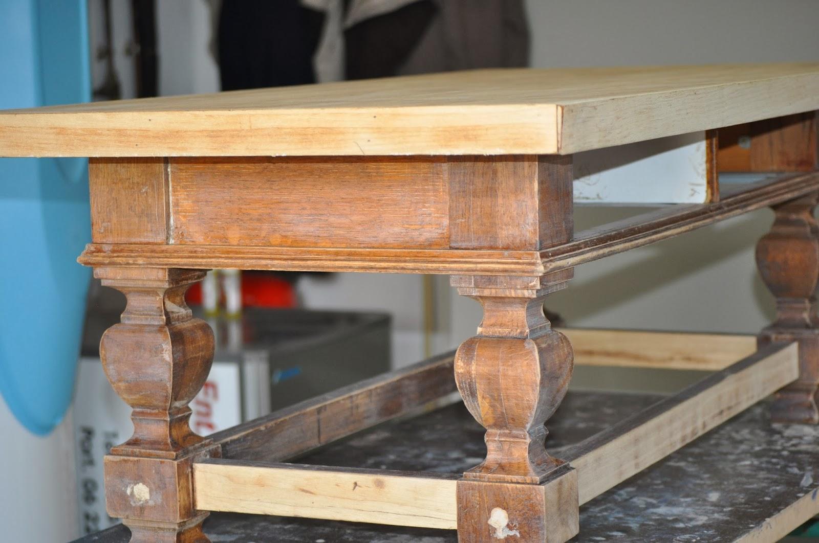 Bois et patines nathalie madrenes table basse patinee - Relooker une table en bois ...