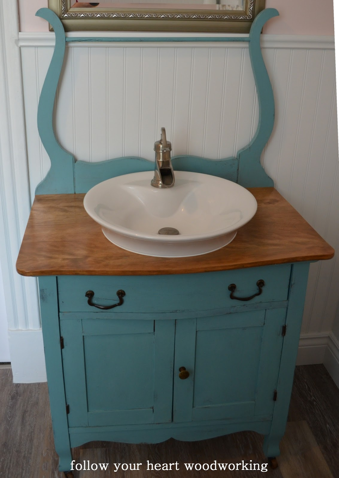 Follow Your Heart Woodworking: Bathroom Renovation   Part 5   The Commode  Turned Into A Vanity