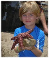 Summer camper at Aloha Beach Camp Keiki Camp at Paradise Cove holding a starfish.