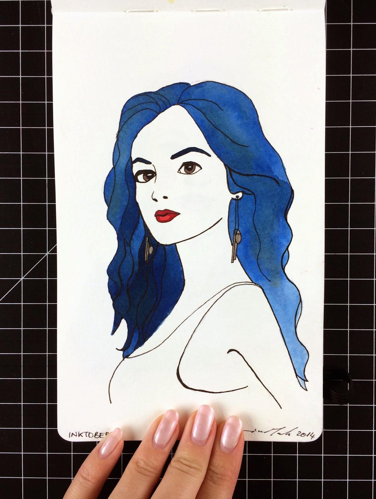 Inktober fashion illustration of Lucy Hale by Jessica Mack aka BrownPaperBunny