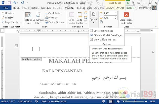 Cara membuat no halaman ganjil/genap beda posisi di word