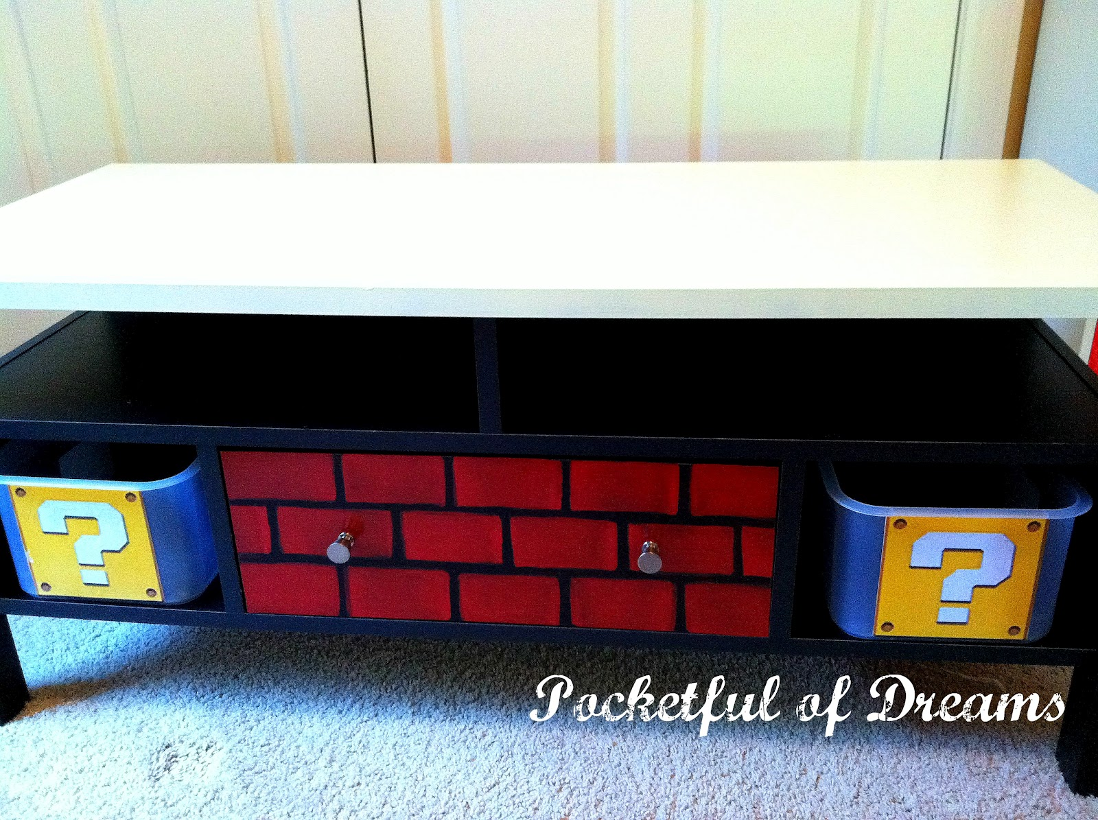 Pocketful of dreams super mario tv stand transformation for Tv stand kids room