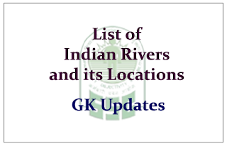 List of Indian Rivers and States - Cities at which it was Located