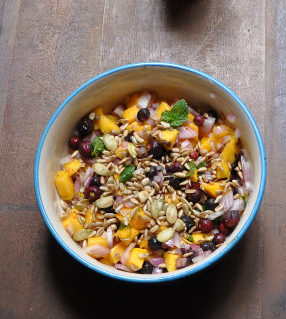 Mango salsa salad with Phalsa and Sunflower seeds....