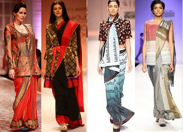 saree with jacket, waistcoat or corset