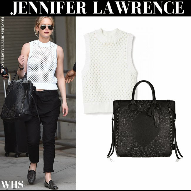 Jennifer Lawrence in white crocheted sleeveless Theory Mayleen top, black pants and black Coach Tatum studded tote what she wore may 1 2015 sprint chic style