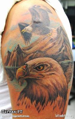 Tatuagens Aguia e Montanha no braco