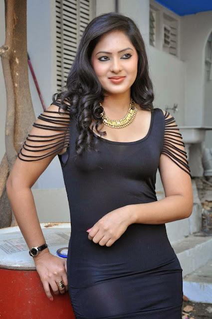 Actress Nikesha Patel Latest  Pictures in Black Short Dress 1.JPG