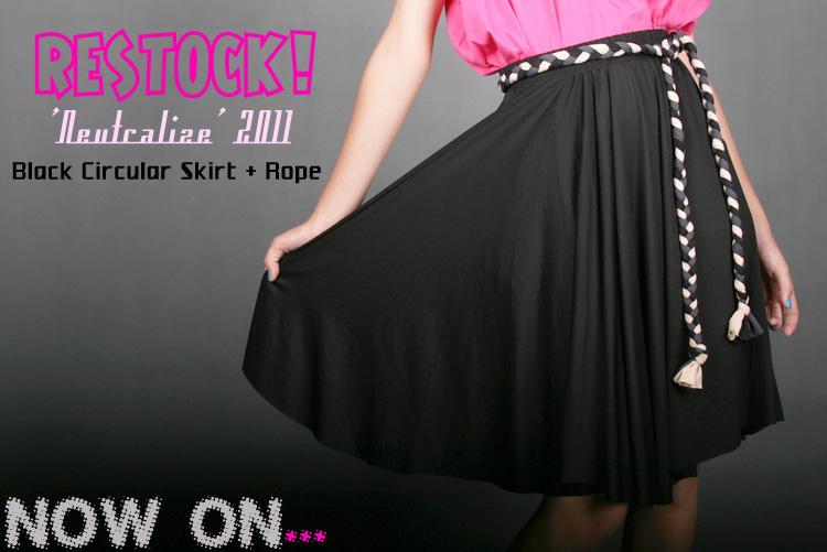 Black And Khaki. Black and Khaki Circular Skirt