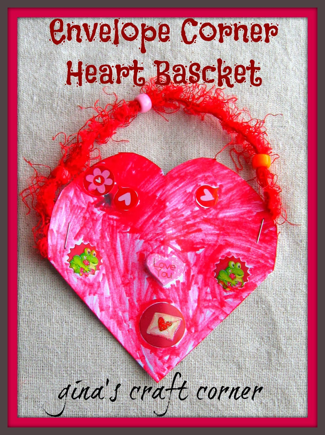 Envelope Corner Heart Basket by Gina's Craft Corner