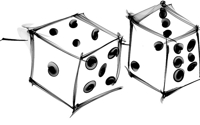 A drawing of a pair of dice