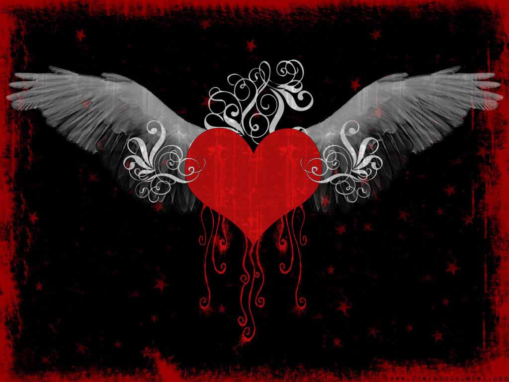 Emo Broken Hearts with Wings