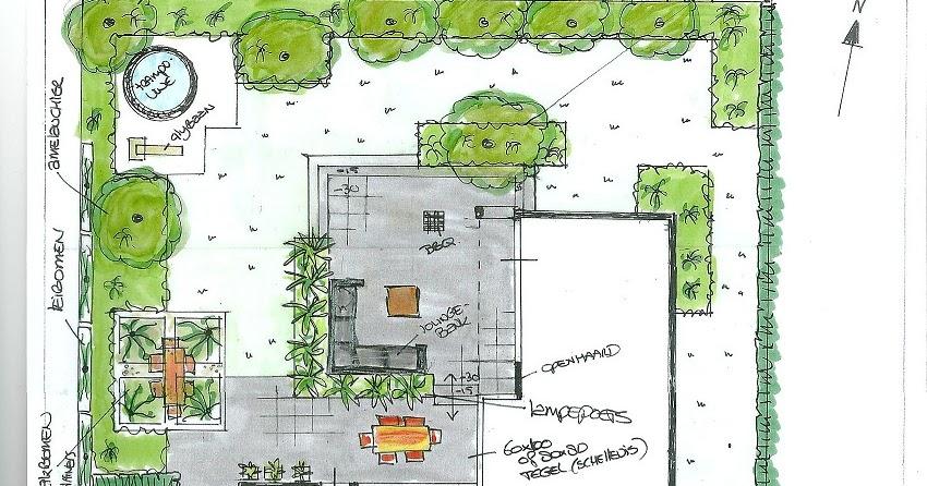 tuintekening maken cyntuinen tuinontwerp advies tuin met niveauverschil