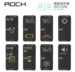 Original Rock Smart UI Transparent View Flip Cover for HTC One E8 Case