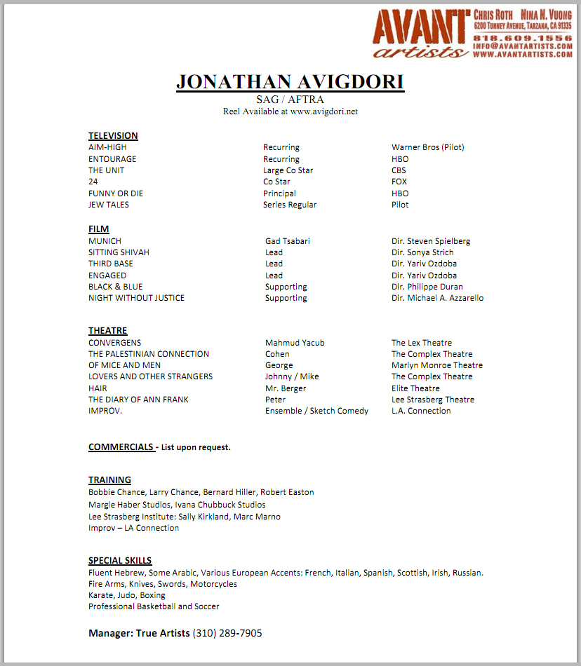 resume Resume For Talent Agency best acting resume template examples of special skills 30052017 be used as talking points or may qualify you for consideration specific roles las vegas