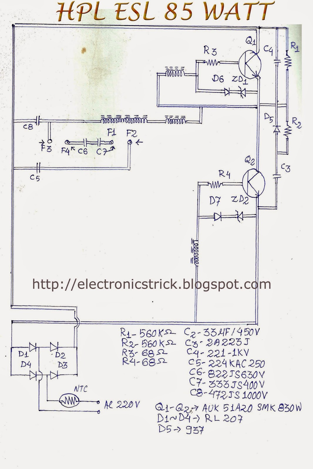electronics tricks and tips hcl esl 85 watt cfl bulb ckt diagram rh electronicstrick blogspot com cfl circuit diagram+working cfl circuit diagram and working
