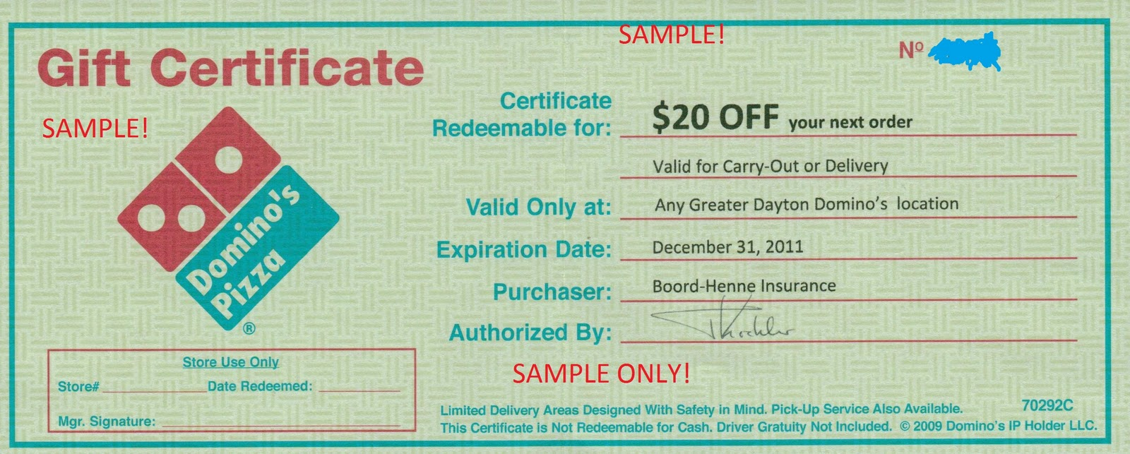 dayton dining sm 20 domino s pizza gift certificate obviously i ve covered up the certificate and added the sample captions but this lets you see exactly what you will get for your time
