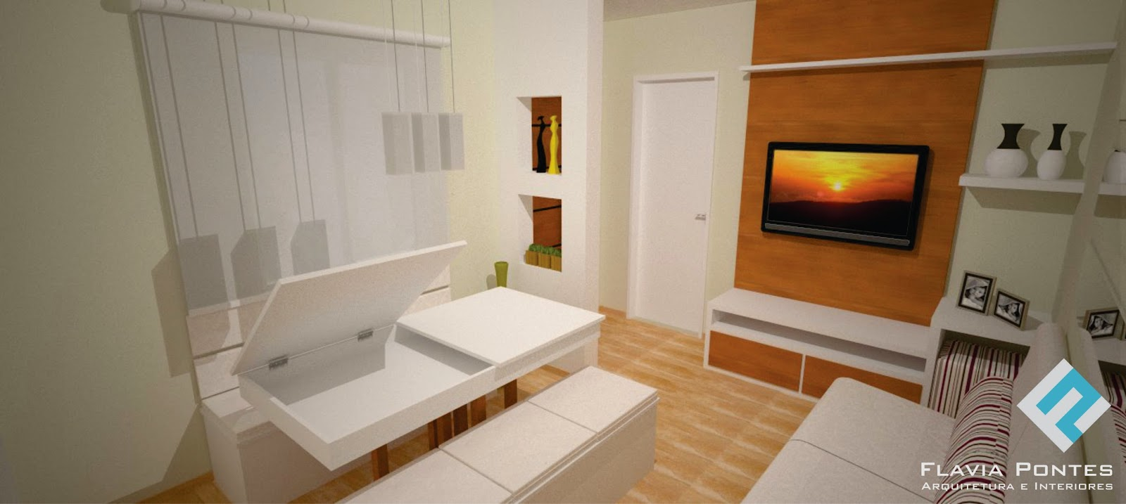 Flavia Pontes Arquitetura -> Sala De Estar Pequena Dois Ambientes
