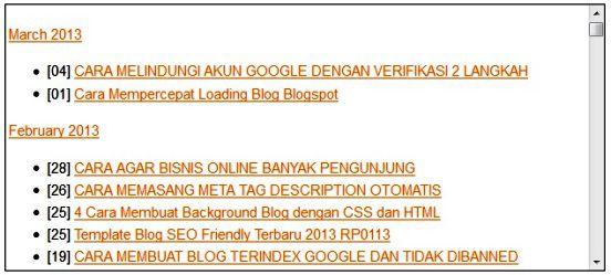 contoh tampilan daftar isi artikel blogspot
