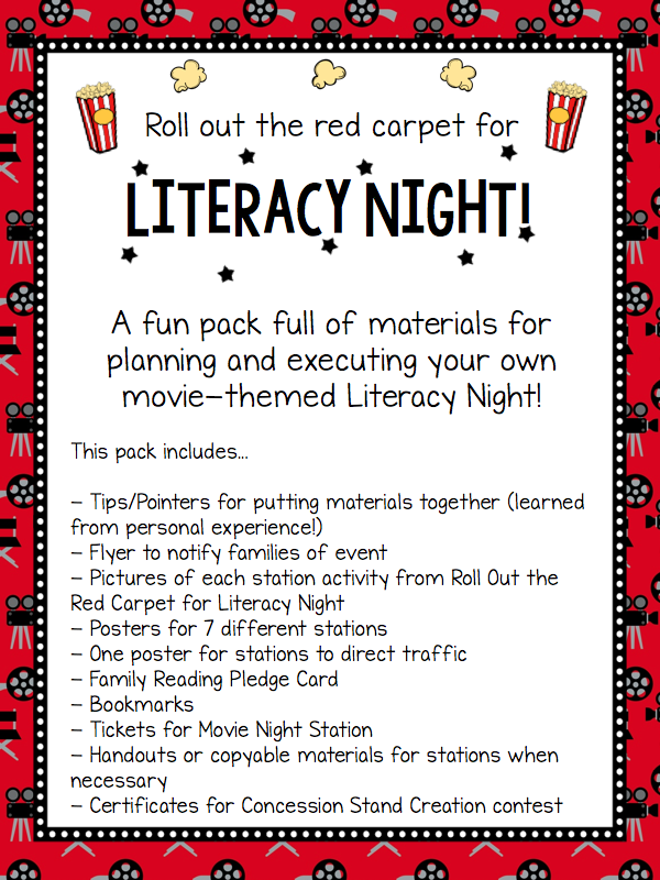 http://www.teacherspayteachers.com/Product/Movie-Family-Night-Roll-Out-the-Red-Carpet-for-Family-Literacy-Night-1558127