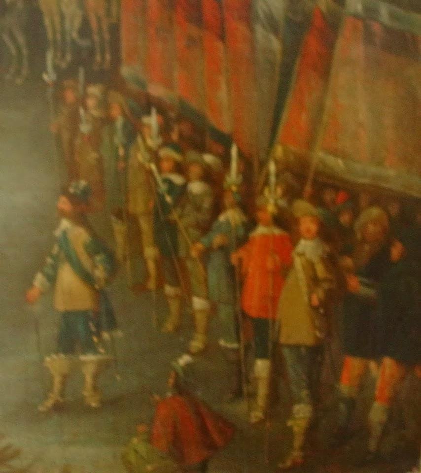 Po lewej widoczny dowódca Reinhold Rosen, za nim oficerowie i chorążowie, w prawym dolnym rogu widoczni dwaj żołnierze.