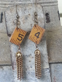 assemblage earrings with recycled materials
