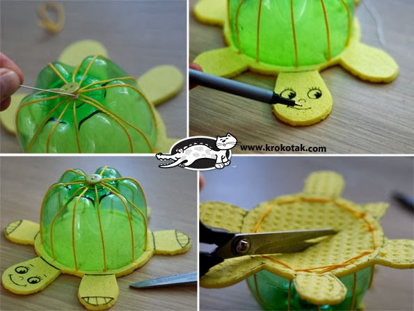 Recycled Plastic Bottles into Turtles