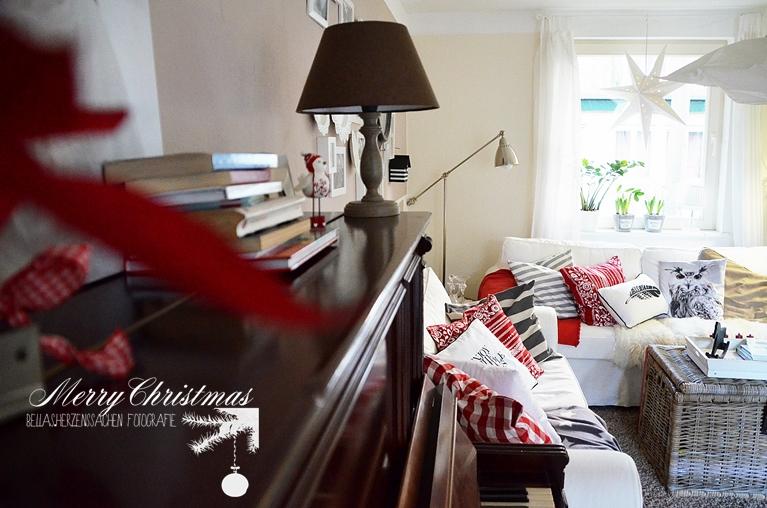 Wohnzimmer rot Weihnachten