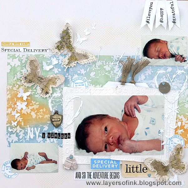 Layers of ink - Pearlescent Scrapbooking Layout by Anna-Karin
