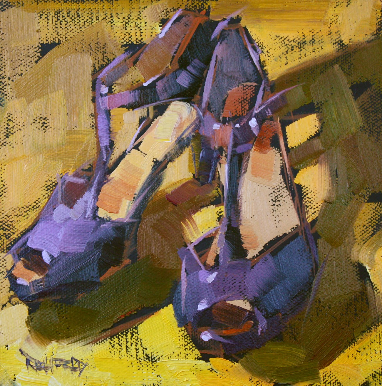 Cathleen rehfeld daily painting shoe fiend 5 purple for Purple and yellow painting