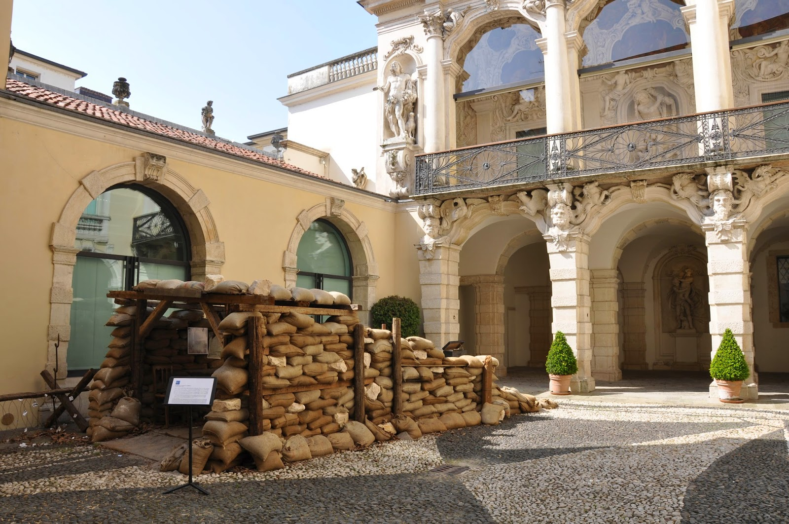 A trench in the patio of Gallerie D'Italia in Palazzo Leoni Montanari, Vicenza, Italy
