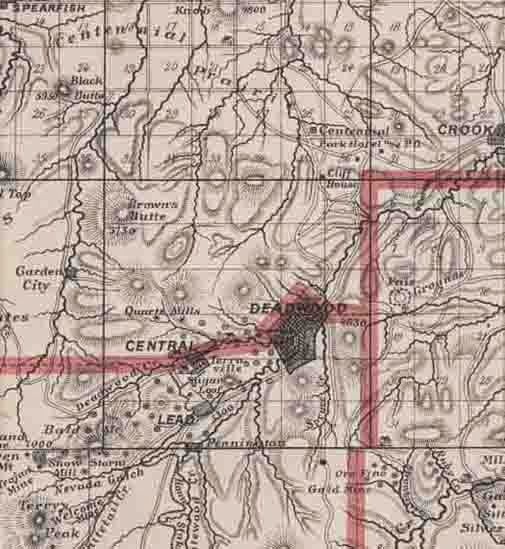 Historical Marker: Map of the Deadwood region before statehood on