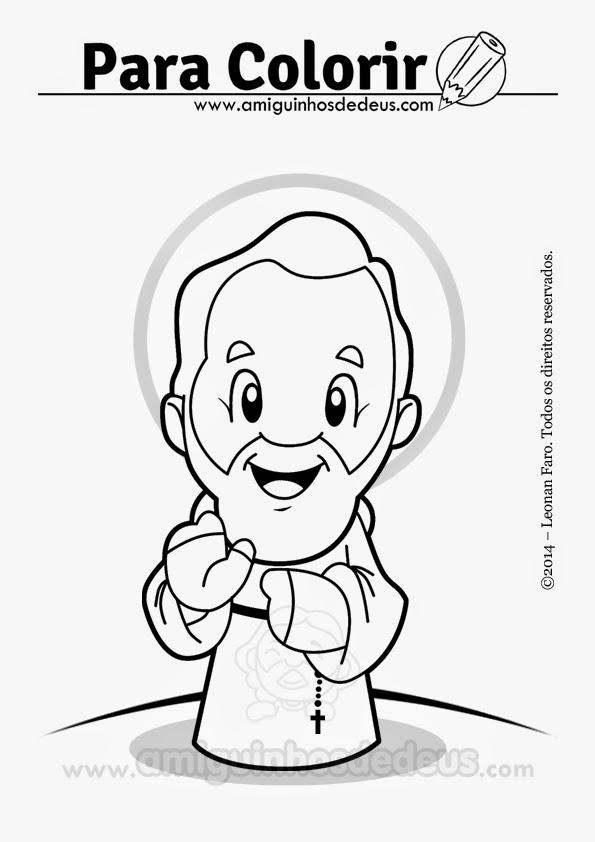 São Pio de Pietrelcina desenho para colorir