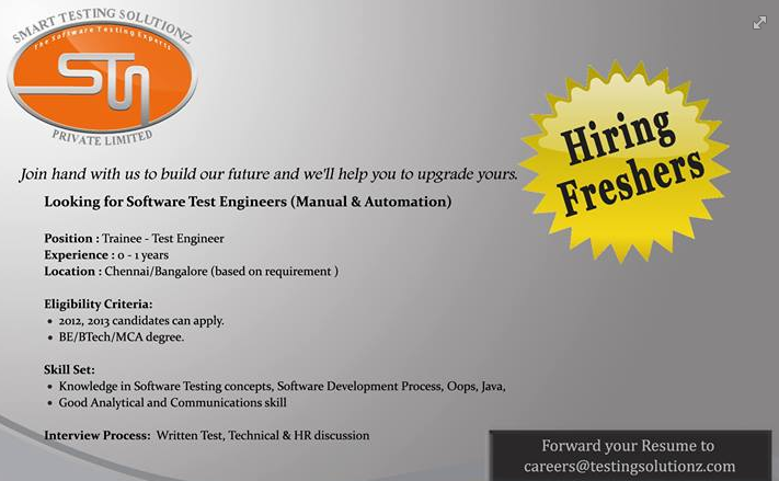 Testing Opening for Freshers in Bangalore