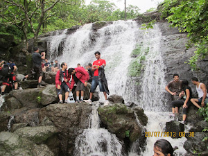 "Trekkers enjoying the ""Monsoon Waterfall"" on ""Shidi route""."