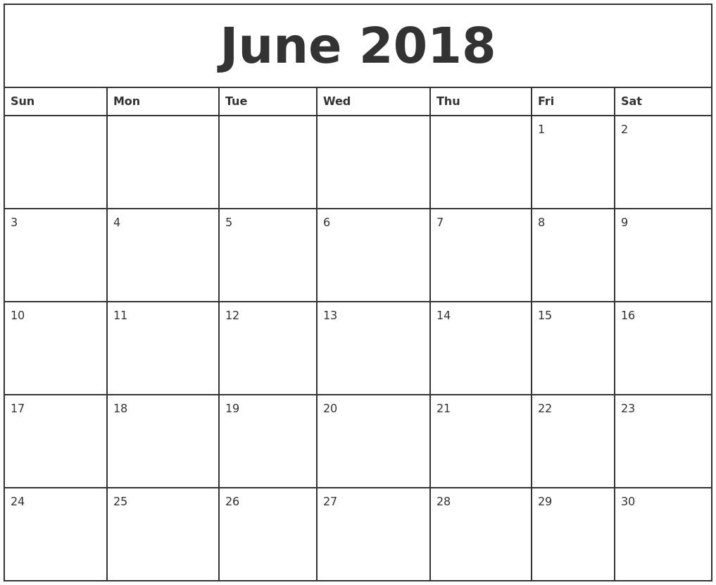 Calendar June 2018 : Download june calendar printable templates webelator
