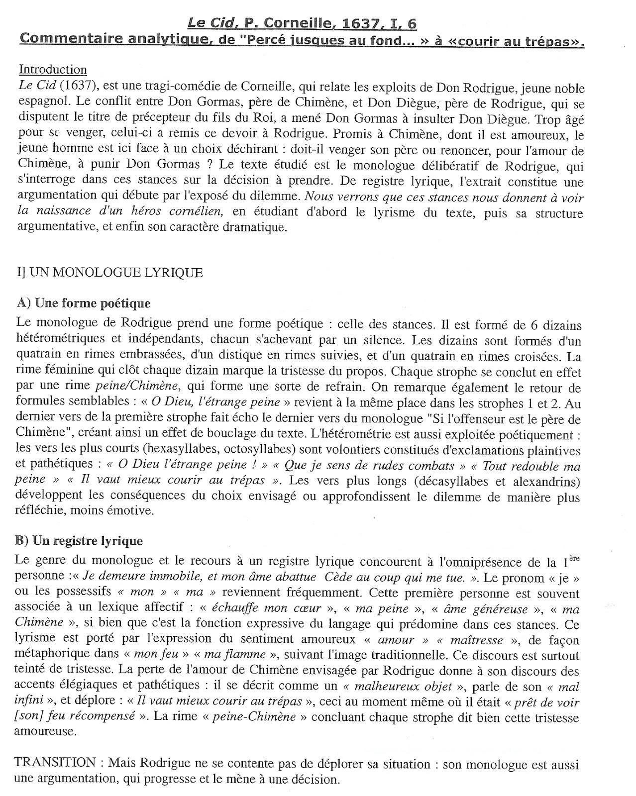 texte 6 le cid p corneille acte i sc 232 ne 6 1637