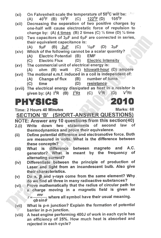 Physics-2010-five-year-paper-class-XII