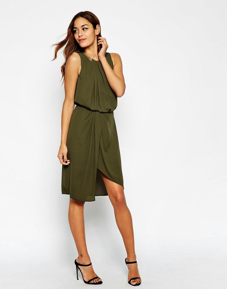 khaki gold dress, khaki wrap dress,
