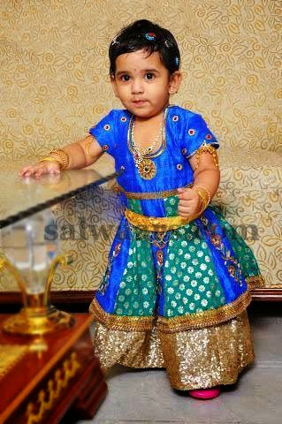 Baby in Blue Benaras Skirt