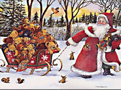 Santa with lots of teddy bears