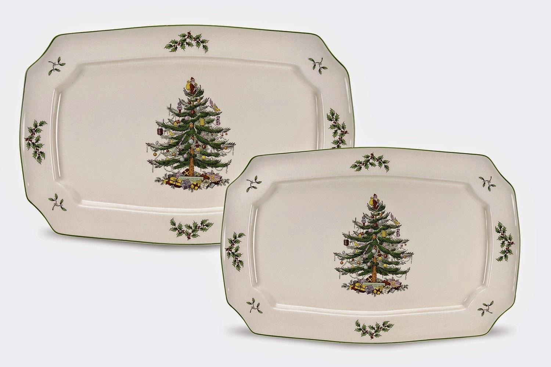 Spode Christmas Tree Rectangular Platters, Set of 2
