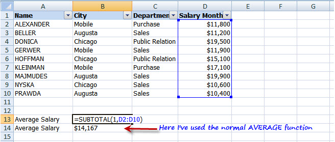 Microsoft excel tips ms excel subtotal function and filter normal average function wont be helpful here because once well apply filter to it will still give us the average of all the records in the data freerunsca Images